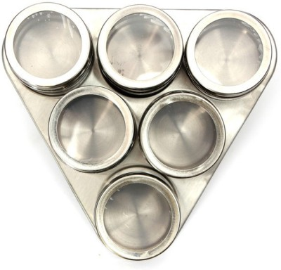 Home Genie Magnetic Spice Rack Stainless Steel Board and 6 Piece Spice Set