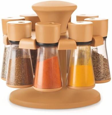 Floraware 8-Jar Revolving Spice Rack Masala Box, Light Brown Condiment Set(Plastic) at flipkart