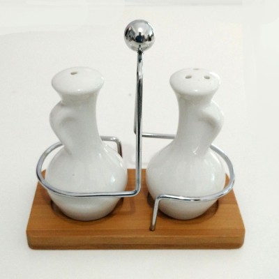 MOG Ceramic with Bamboo Stand 2 Piece Salt & Pepper Set
