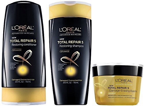 LOreal Paris LOreal Total Repair 5 Restoring Shampoo and Conditioner 25.4 Oz Each and Damage-Erasing Balm 8.5 Oz (Set of 3)(250 ml)
