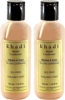 Khadi Natural Shikakai Honey Conditioner - SLS and Parabens Free (Twin Pack)(420 ml)