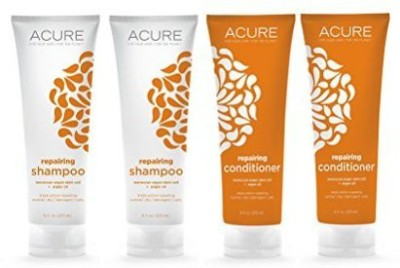 Acure Acure Organics Argan Repairing Shampoo and Conditioner Bundle With Acai, Blackberry, Rosehips, Pomegranate and Aloe Vera, 8 oz. each (Pack of 2, 4 Bottles)(235 ml)