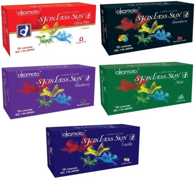 Okamoto Skinless Skin - Ultra Thin, Strawberry 1350 Dots, Blueberry, Mint and Vanilla Dotted Condom
