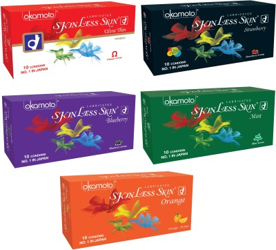 Okamoto Skinless Skin - Ultra Thin, Strawberry 1350 Dots, Blueberry, Mint and Orange Condom