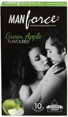 Manforce Green Apple Flavoured 10s Condom(Set of 10, 10S)