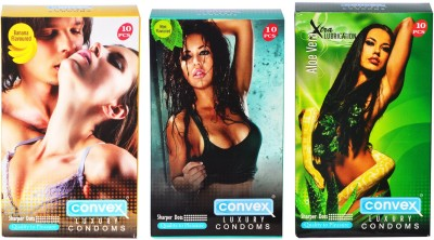 Convex Monthly Pack Combo Dotted Banana, Mint, Aloevera Condom