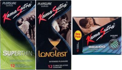 Kamasutra Superthin, Longlast, Ribbed Condom