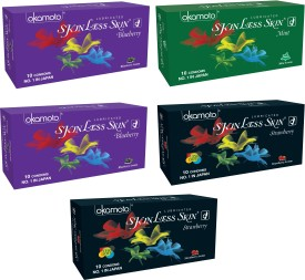 Okamoto Skinless Skin - Blueberry & Mint Dotted and Strawberry 1350 Dots Condom