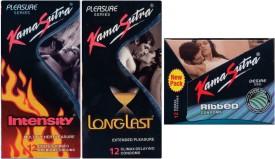Kamasutra Ribbed, Longlast, Intensity Condom