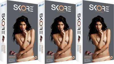 Skore Chocolate Flavoured Dotted & Coloured Monthly Combo Condom