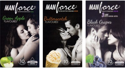 Manforce Green Apple, Butterscotch, BlackGrape Condom