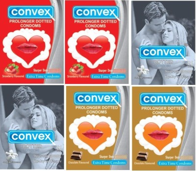 Convex Dotted Extra Time Combo Pack (Strawberry, Jasmine, Chocolate)(pack of 6) Condom
