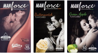 Manforce Coffee, Butterscotch, Green Apple Condom