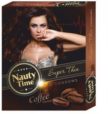 Nauty Time Super Thin Dotted Coffee Flavour Condom