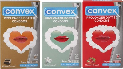 Convex Monthly Pack Combo Prolonger Jasmin, Strawberry, Chocolate (Set of 3 30S) Condom