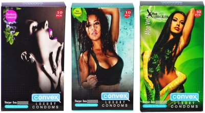Convex Monthly Pack Combo Dotted Mint, Blueberry, Aloevera Condom