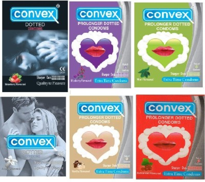 Convex Dotted Extra Time Combo Monthly Pack( Vanila, Mint, Blueberry, Jasmine, Strawberry, Redcurrant) Condom