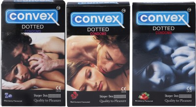 Convex Monthly Pack Combo Berry Special Dotted Blueberry, Redcurrant, Strawberry (Set of 3 30S) Condom