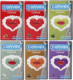 Convex Monthly Jumbo Pack Prolonger Mint, Strawberry, Chocolate, Blueberry, Jasmin, Redcurrant (Set of 6, 60S) Condom