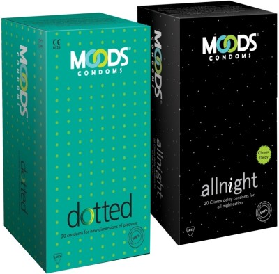 Moods Allnight and Dotted Combo Condom