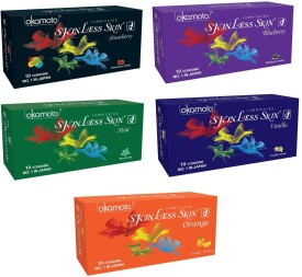 Okamoto Skinless Skin - Strawberry 1350 Dots, Blueberry, Mint, Vanilla and Orange Dotted Condom