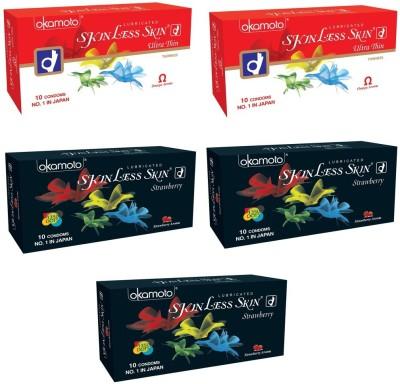 Okamoto Skinless Skin - Ultra Thin x 2 and Strawberry 1350 Dots x 3 Condom