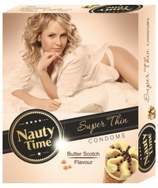 Nauty Time Super Thin Dotted Butter Scotch Flavour Condom