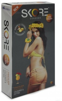 Skore Pina Colada Flavoured Coloured and Dotted - Pack of 10 x 10 Condom