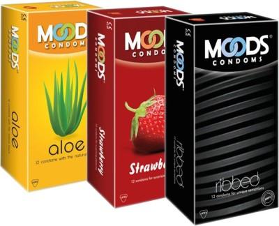 Moods Aloe, Strawberry & Ribbed Condoms Condom