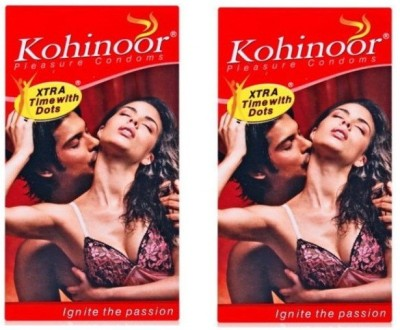 Kohinoor Extra Time With Dots Pleasure Dotted Condom(Set of 2, 20S)