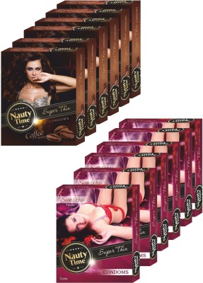Nauty Time Super Thin Dotted Coffee & Silky Rose Condom