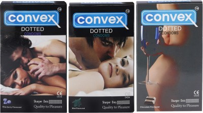 Convex Monthly Pack Combo Dotted Mint, Blueberry, Chocolate (Set of 3 30S) Condom