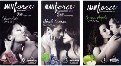 Manforce Chocolate, BlackGrape , Green Apple Condom
