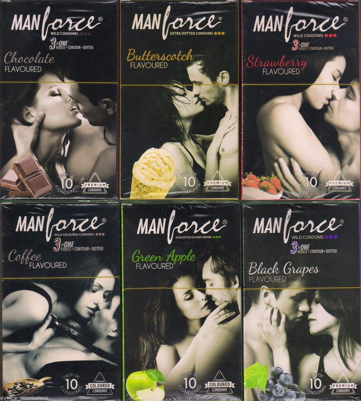 Manforce chocolate,butterscotch,strawberry,coffee,greenapple,blackgrapes Condom(Set of 6, 60S)