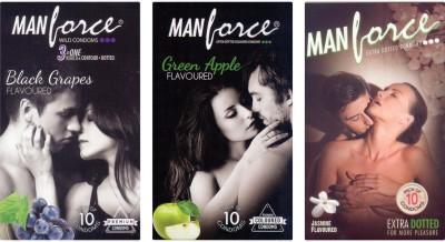 Manforce BlackGrape , Green Apple, Jamin Condom