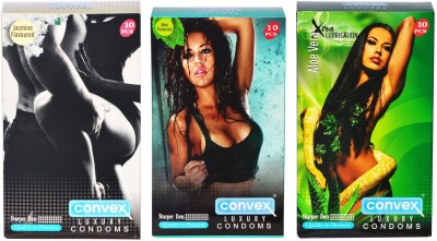 Convex Monthly Pack Combo Dotted Jasmin, Mint, Aloevera Condom