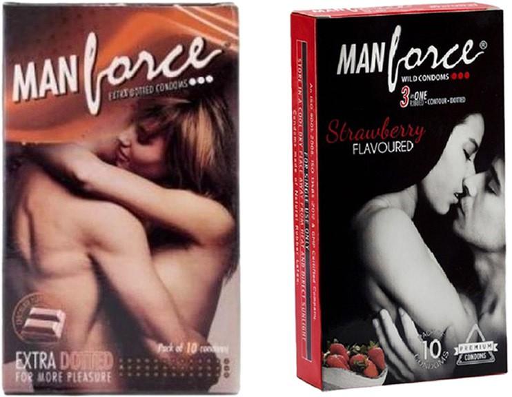 Manforce Chocolate, Strawberry Condoms 10s (Combo of 2) Condom(Set of 2, 20S)