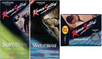 Kamasutra Superthin, Ribbed, Wet n Wild Condom