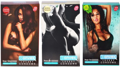 Convex Monthly Pack Combo Dotted Chocolate ,Jasmin ,Mint Condom