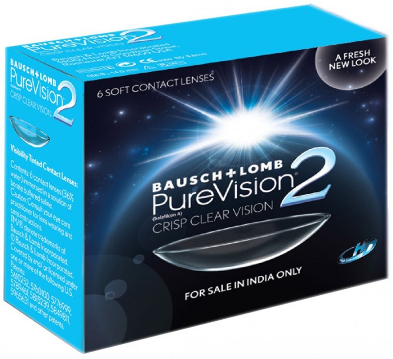 Bausch & Lomb PureVision2 - HD Monthly Contact Lens(-0.5, Transparent, Pack of 6)