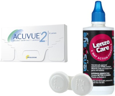 Johnson & Johnson Acuvue 2 with LensCareKit By Lens4eye Monthly Contact Lens(-0.50, Clear, Pack of 6)