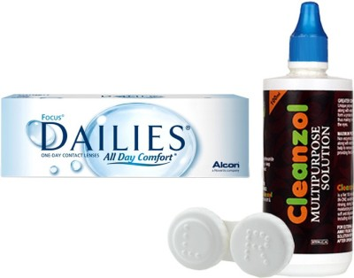 Alcon Focus Dailies with LensCareKit By Visionsindia Daily Contact Lens(-1.25, Clear, Pack of 30)