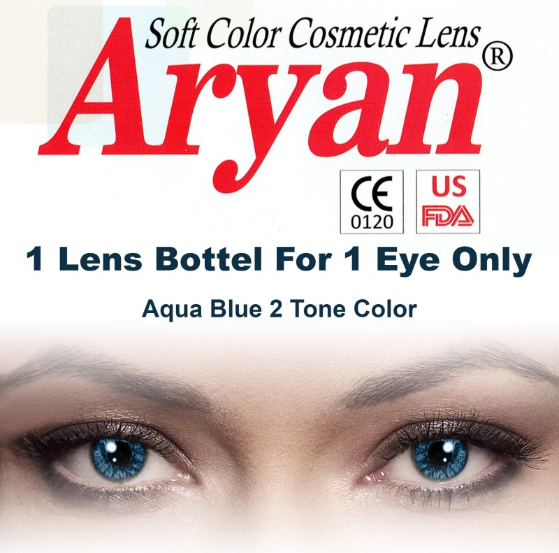 Aryan Colored Disposable Yearly Contact Lens(-3, Aqua Blue, Pack of 1)