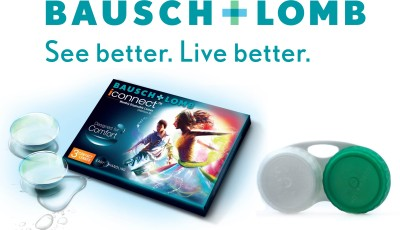 Bausch & Lomb Iconnect With Lens Case By Visions India Monthly Contact Lens(-4.25, Clear, Pack of 3)