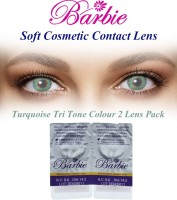 Barbie Tri Tone Turquoise Zero Power By Visions India Monthly Contact Lens(Turquoise-0.00, Turquoise, Pack of 2)