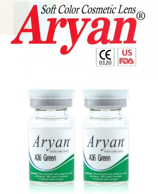 Aryan Tri Tone Green Visions India Yearly Contact Lens(-5.50, Green, Pack of 2)