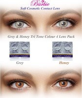 Barbie Tri Tone Zero Power By Visions India Monthly Contact Lens(GreyHoney-0.00, Grey & Honey, Pack of 4)