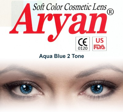 Aryan 2 Tone Aqua Blue By Visions India Yearly Contact Lens(-0.00, Aqua Blue, Pack of 2)