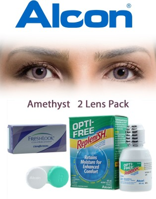 Ciba Vision FreshLook COLORBLENDS Amethyst With LensCareKit By VisionsIndia Monthly Contact Lens(-5.75, Amethyst, Pack of 2)