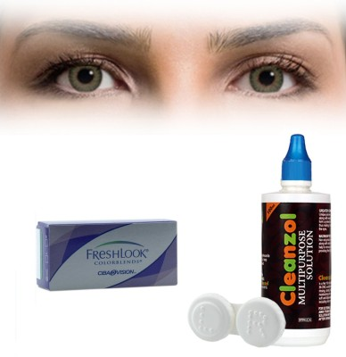 Alcon Freshlook Colorblends Green with LensCareKit By Visionsindia Monthly Contact Lens(-1.75, Green, Pack of 2)